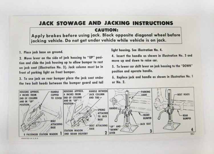 1957 Chevy Jack Storage And Jacking Instructions Wagons Mervs